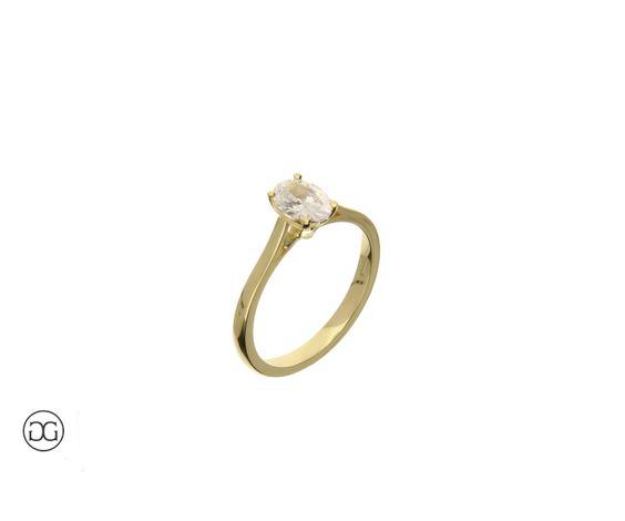 Verlobungsring Gelbgold 750 Diamant Oval-Schliff 0,75ct