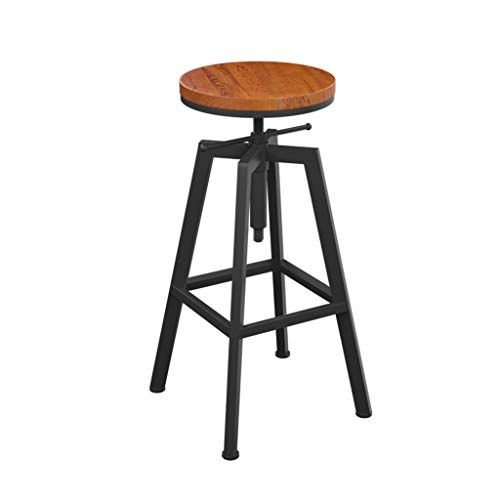 Round Rotatable Barstool Iron Breakfast Dining Stool For Kitchen