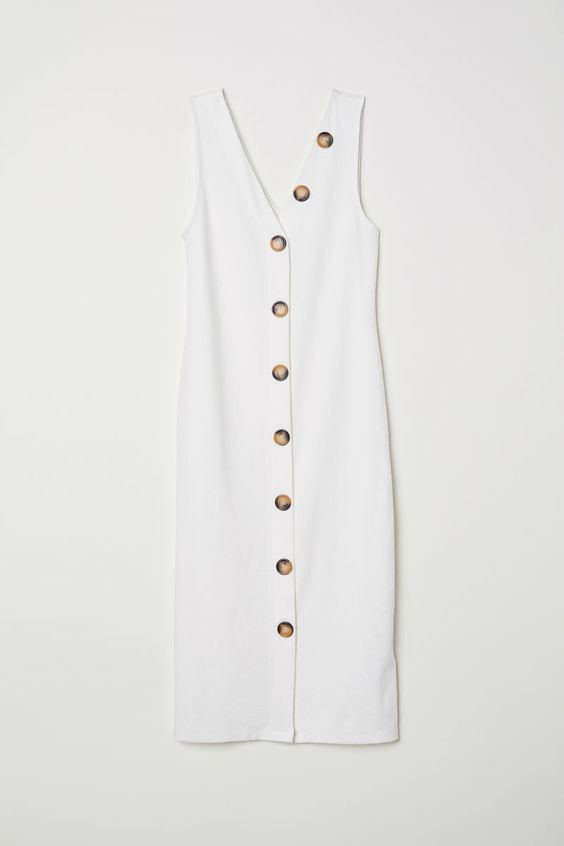 Fitted Dress | White | WOMEN | H&M US