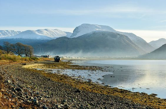 Ben Nevis from Corpach, three vertical images stitched together.