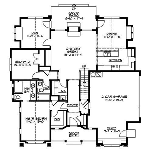 Floorplan with two-sided indoor/outdoor fireplace in living room ...