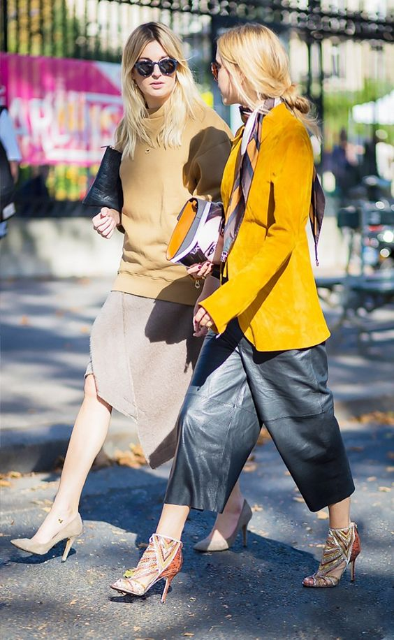 Love this Street style! The leather pants w the yellow jacket - wow! And the other outfit, nudies. Love both!  3 Understated Ways to Wear the Western Trend This Fall via @WhoWhatWear