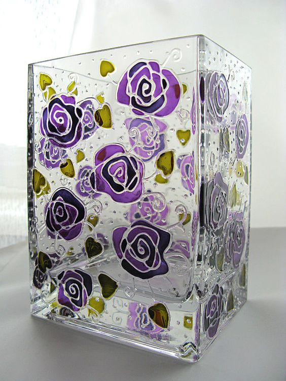 Hand painted glass vase by Elena Vitro