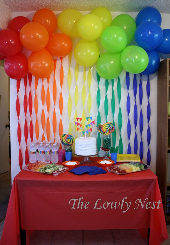 Rainbow crepe streamers and balloons birthday direct has for Balloon and streamer decoration ideas