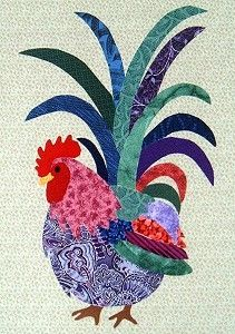 Rooster Applique patterns: Applique Chickens, Chicken Quilts, Colorful Rooster, Chicken Applique Patterns, Chicken Sewing Pattern, Chicken Quilt Pattern, Rooster Quilt, Chickens Roosters