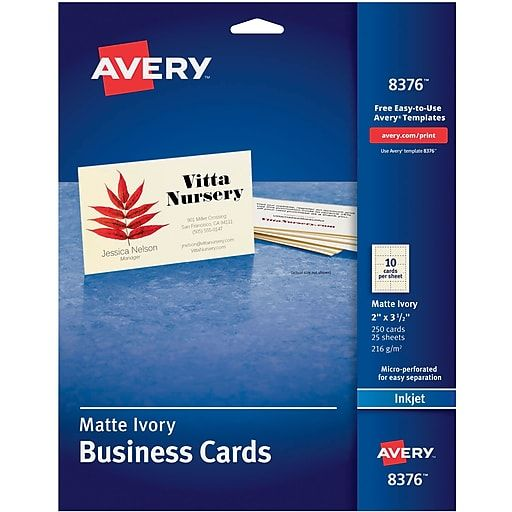 Avery Business Cards 3 5 X 2 Matte Ivory 250 Pack 8376 Staples Avery Business Cards Printable Business Cards Free Business Card Templates