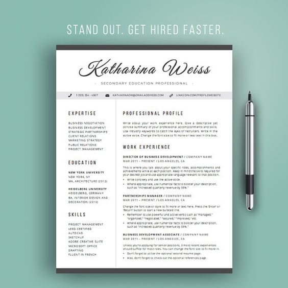 Resume Template Modern, Cv Template, Instant Download, Word