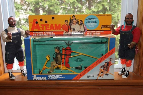 RARE The A Team Combat attack Gyrocopter Murdock Mr. T Baracus Galoob 1983