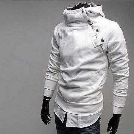 Stand Collar Side Zip Hoodie White | Oh-Mi-Oh-Men | Pinterest ...