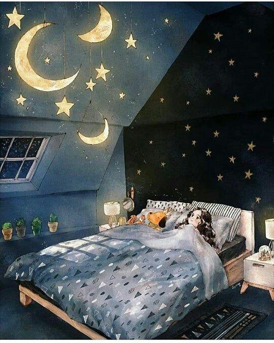 aesthetic room art by aeppol instagram - cute girl sleeping room art bedroom decor | soyvirgo.com