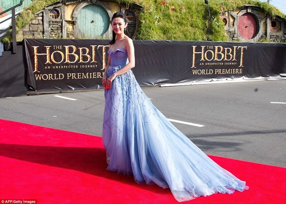 Overseas star: Chinese actress Yao Chen also proved to be a big LOTR fan and put on her best frock to attend the premiere in New Zealand