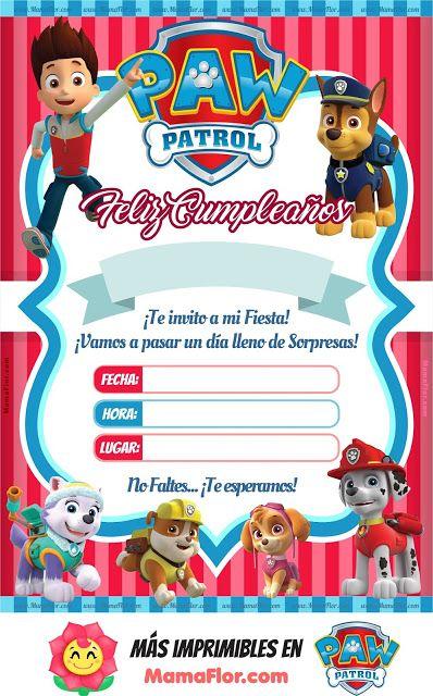 Invitaciones De La Patrulla Canina Para Editar Gratis Manu Invitaciones De Paw Patrol Invitacion Cumpleaños Patrulla Canina Tarjetas De Cumpleaños Para Niños