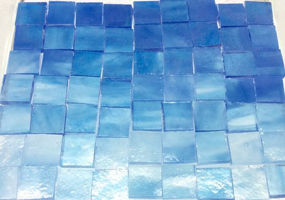 "50 ARCTIC BLUE ICE & Sky 1/2"" Stained Glass Stipple Mosaic Tile Supply Ice3"
