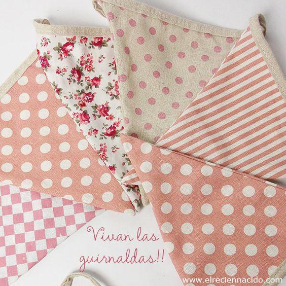 Decorar con guirnaldas y banderines de tela precio 10 50 - Guirnaldas de tela ...