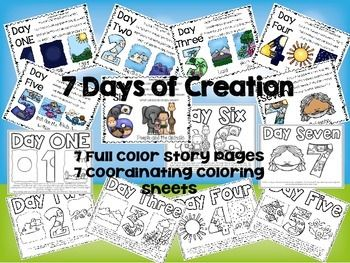 7 Days of Creation Story Boards and Coloring Sheets ...