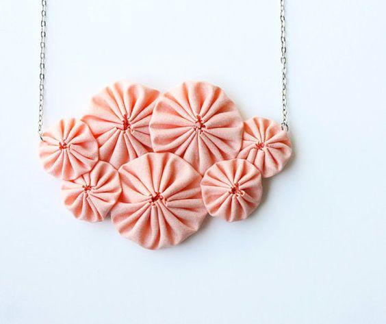 Peach bib fabric  yoyo necklace by violasboutique on Etsy