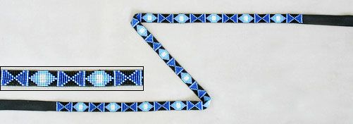 Native American Beadwork Hat Bands    Navajo Sheri Jackson's crossband design hat band worked in 13/14º seed beads using white and three shades of blue on a black background. The loomwork measures 1/2″ wide x 22-5/8″ long and is finished with coordinating black leather ties each 6″ long.  $72.00