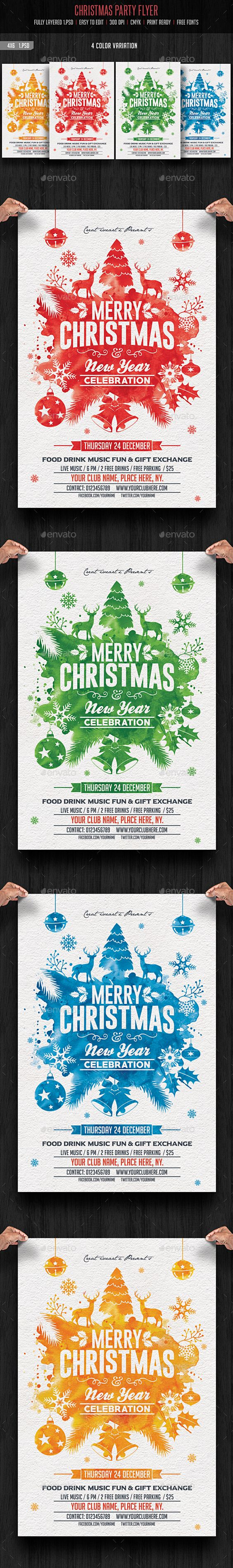 christmas party christmas parties graphics and party flyer merry christmas party flyer template psd design graphicriver