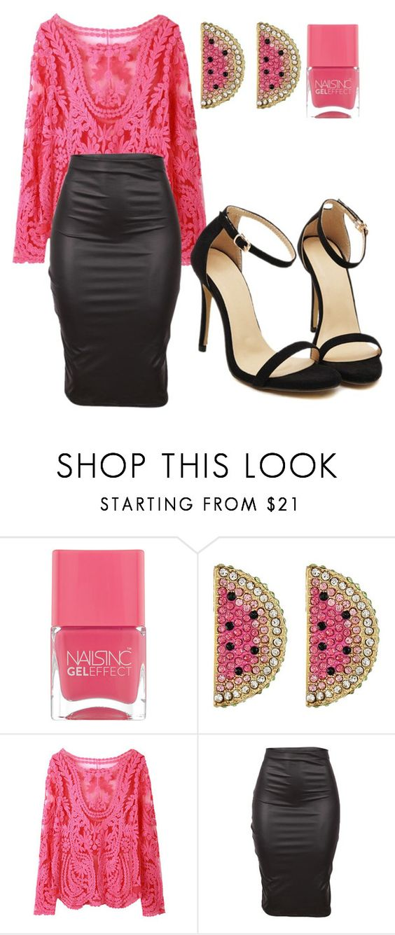 """Watermelon and Leather"" by laurenvb ❤ liked on Polyvore featuring Nails Inc. and Betsey Johnson"