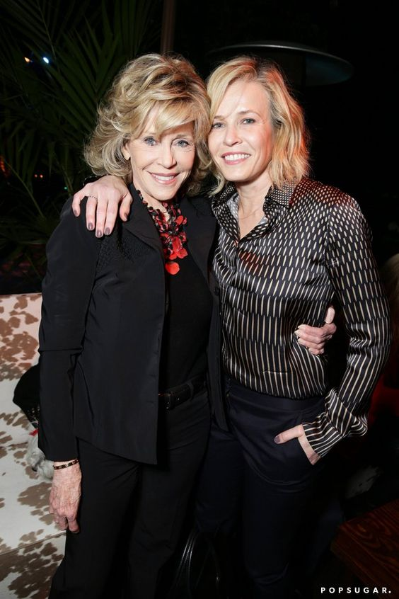 Pin for Later: The Hot Oscars Parties You May Have Missed  Jane Fonda and Chelsea Handler wrapped their arms around each other at a party celebrating the documentary Virunga's Oscar nomination.