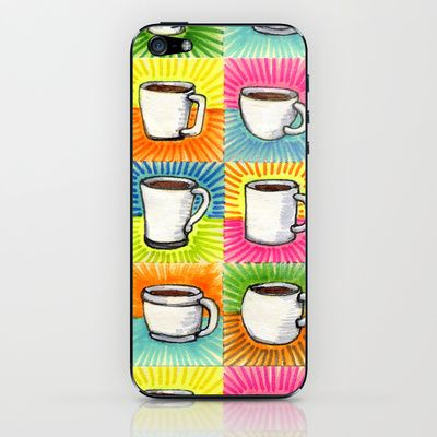 I drew you 9 little mugs of coffee iPhone & iPod Skin by Brandon Ortwein - $15.00