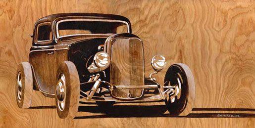 """Channeled 32 Ford 3 window.  16"""" x 22"""" acrylic on wood.  by Bernie Ramirez"""
