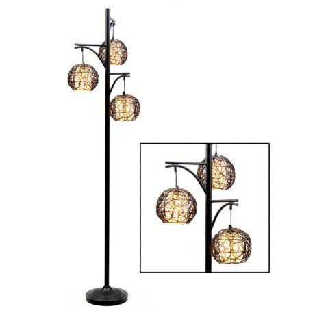 Triple Wicker Floor Lamp Unique Floor Lamps Back Deck And Chevron Chairs