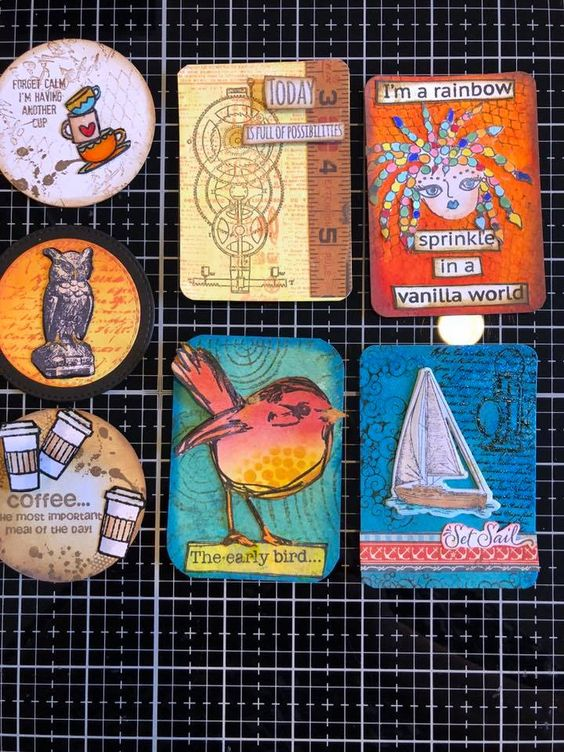 Student work by Sandra in All About ATCs Class - six artist trading cards (ATC) #allaboutatcs class with Marjie Kemper