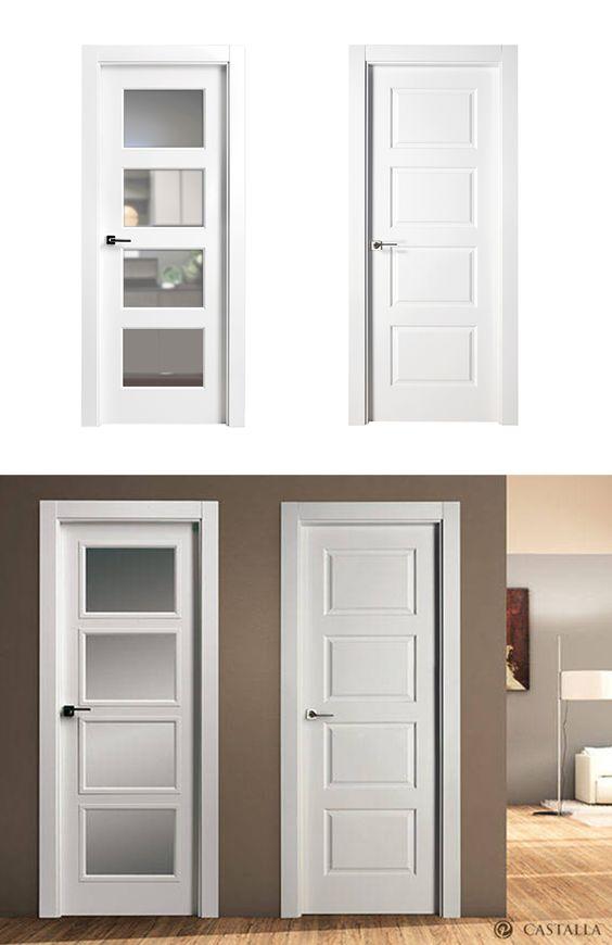 Puerta de interior blanca modelo gorky de la serie for Modelos de puertas de madera para dormitorios