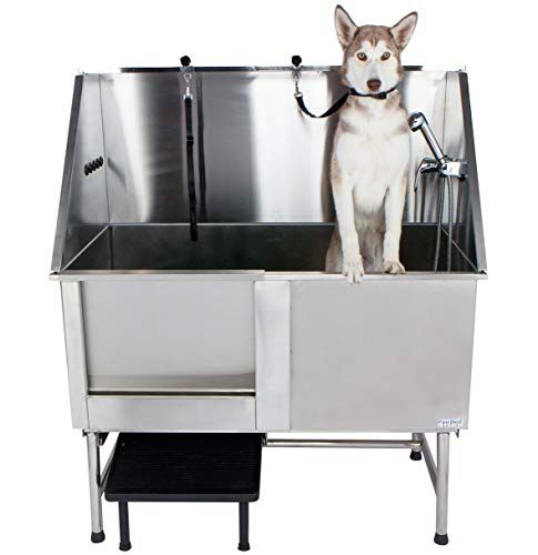 Pawbest Stainless Steel Dog Grooming Bath Tub With Ramp Faucet