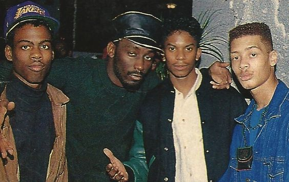 Chris Rock, Big Daddy Kane, Special Ed, Redhead Kingpin at a party thrown by EPMD to celebrate Unfinished Business going gold. The New York Billiards Club, NYC, 1990.: