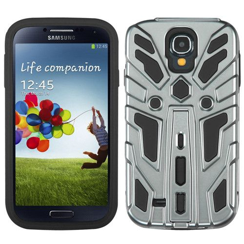 Zenobots Hybrid Protector Case for Samsung Galaxy S4 - Silver/Black