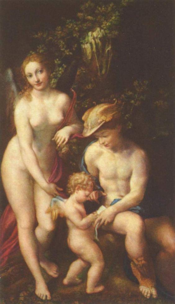 La educación del Amor, o Venus, Mercurio y Amor, h. 1525, lienzo, 155 × 92 cm, National Gallery de Londres, cuadro que se considera pendant de este Venus y Amor descubiertos por un sátiro