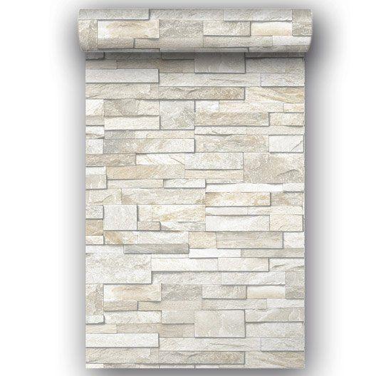 Papier peint intissé Brique marbre blanc