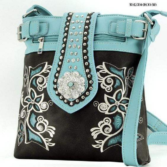 Western Concealed Carry Purse Messenger Crossbody Hipster Black / Turquoise NWT #ConcealedCarryPurse #MessengerCrossBody