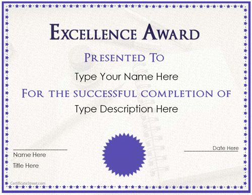 Special certificate excellent work award certificate certificatestreetcom free printable for Work anniversary certificate template