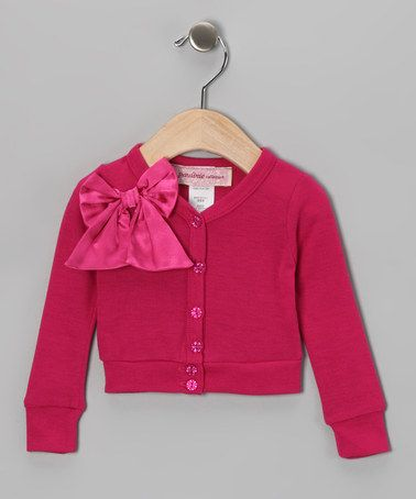 Take a look at this Fuchsia Satin Bow Cardigan - Infant by Paulinie on #zulily today!