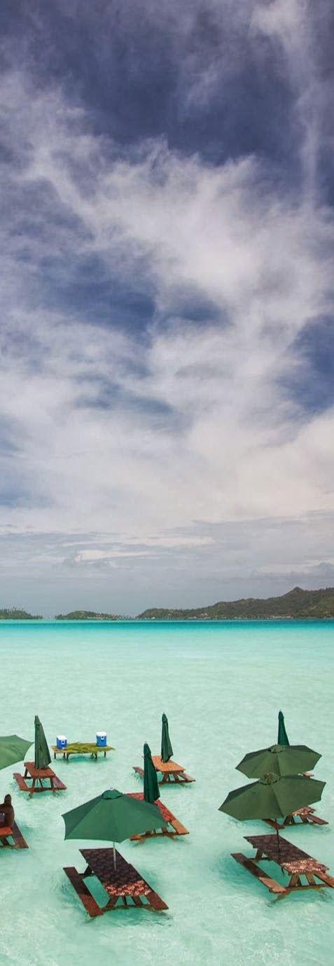 Our dream lunch spot in Bora Bora.