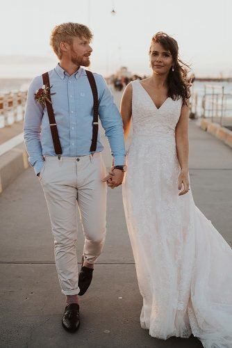 Mens Wedding Attire For Beach Celebration ★  mens wedding attire blue t shirt with suspenders boutonniere josie_lee