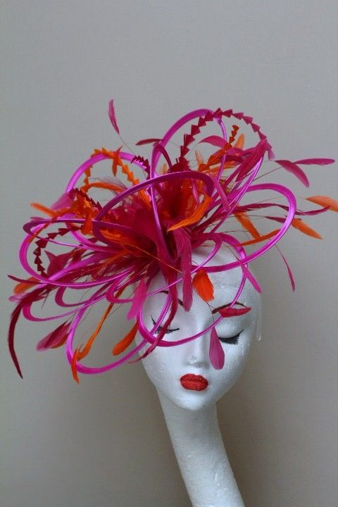 Hot Pink Orange Fascinator Hat Choose any colour satin & feathers (HBCLD)