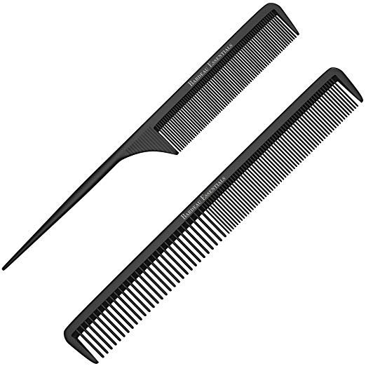 Styling Comb And Tail Comb Combo Pack Professional 8 75a Black Carbon Fiber Anti Static Chemical And Heat Re Styling Comb Fly Away Hair Anti Frizz Products