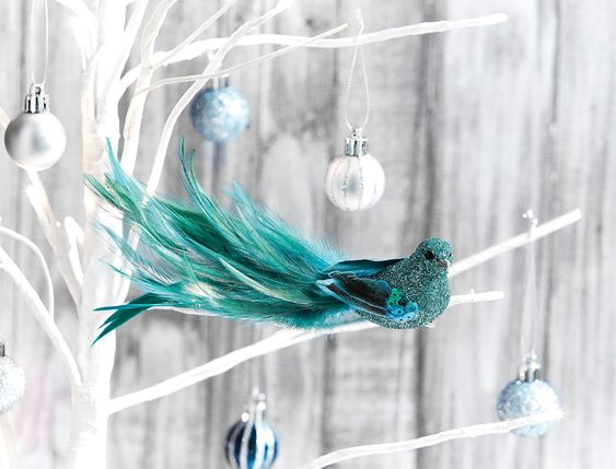 SHIMMER+BIRD+ON+CLIP+SLIM+WITH+FEATHER/GLITTER+TAILORED++-+TEAL