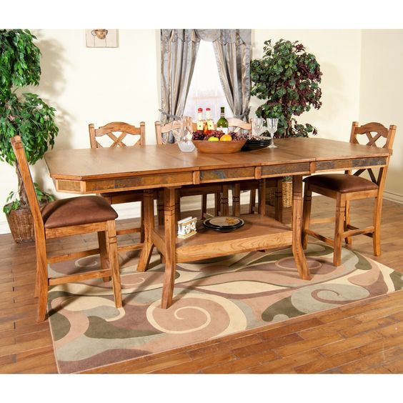 Sedona Wood Double Leaf Gathering Table & Stools in Rustic Oak by Sunny Designs | Humble Abode