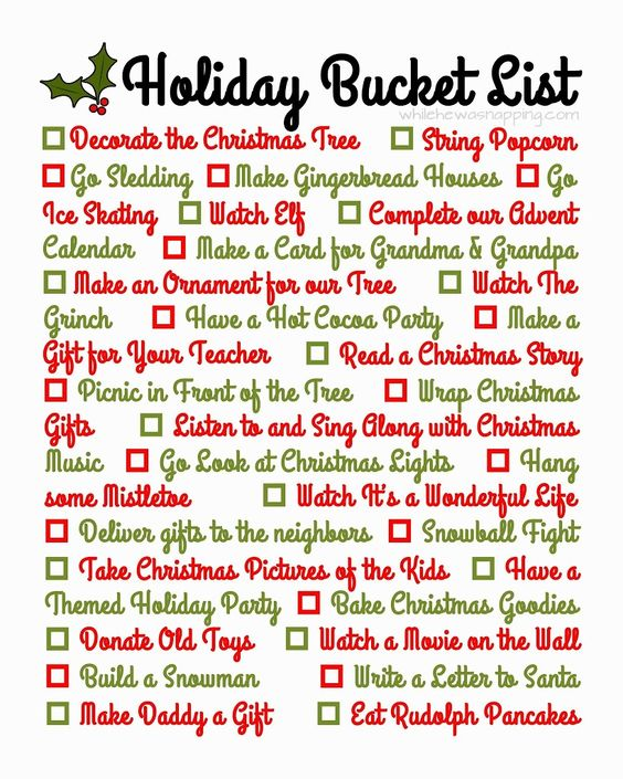 Holiday Bucket List. A great list for ideas of activities and traditions during Christmastime.
