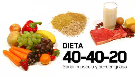 La siguiente dieta te ayudara para perder peso y ganar músculo a la ves, distribuyendo tus alimentos en 40% proteínas, 40% carbohidratos y 20% grasas.