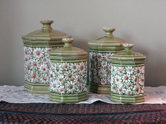 Retro Green Avacodo Canister Set With Daisies Retro By Bohoquilts V
