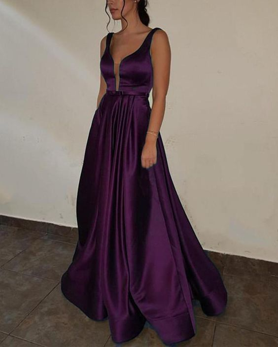 Purple Prom dress with Deep V Neck A Line Satin Formal Gown
