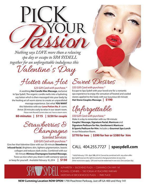 Spa Sydell Valentine S Day Specials Pick Your Passion This Valentine S Day Atlanta Alelizabeth Beautyblogger Spa Specials Day Spa Specials Spa Prices