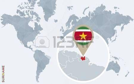 Resumen Mapa Del Mundo Azul Con Surinam Ampliada Bandera De