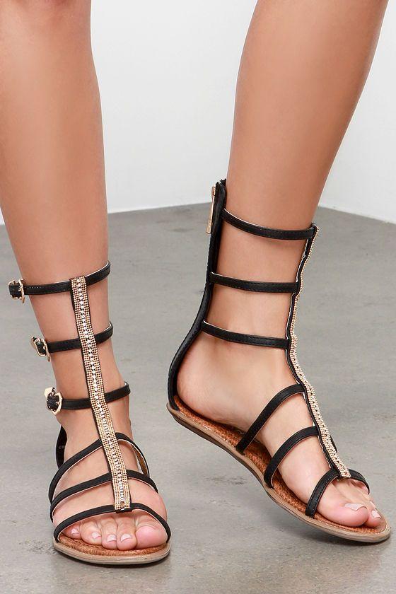 Black beaded gladiator sandals